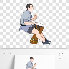 音樂節藍灰黑色系手繪插畫風拍打非洲手鼓的男人免摳圖