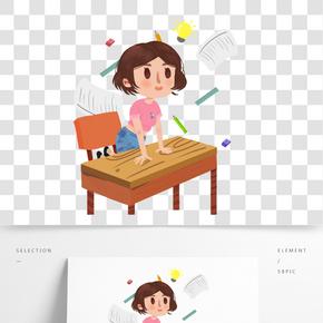 卡通手繪撐著桌子往前看的女孩