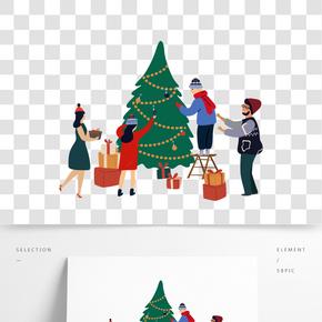 矢量卡通四口之家為圣誕節