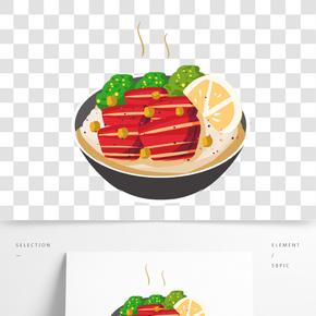 美味牛肉叉燒飯手繪插畫