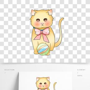 卡通手繪胖橘貓插畫