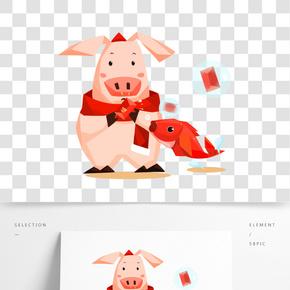 2019豬年豬加錦鯉氣泡手繪插畫
