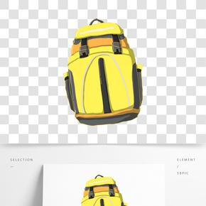 黃色旅行背包插畫