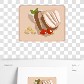 手繪美食三明治插畫