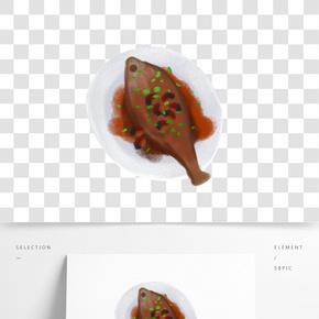 手繪卡通美食魚png素材