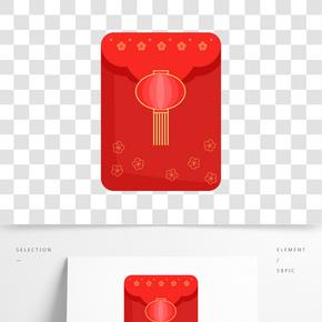 新年花紋紅包插畫