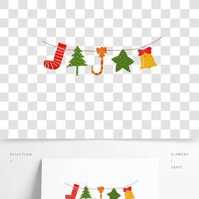 圣誕節紅綠黃色系襪子松樹拐杖糖星星鈴鐺手繪插畫