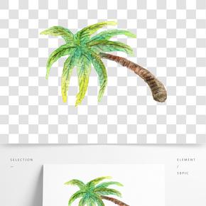 手繪熱帶椰子樹插畫