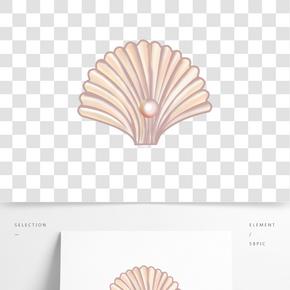 手繪珍珠貝殼插畫