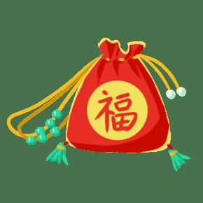 中国风精致荷包红色荷包手绘插画
