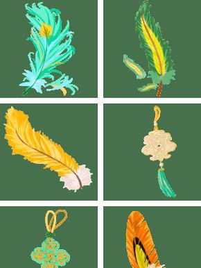 中国风精致羽毛手绘插画