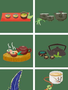 中国风精致茶壶茶杯羽毛手绘插画