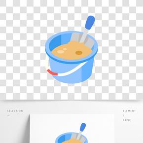 藍色兒童玩具桶插畫