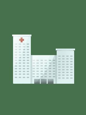 医院大楼正面免扣医疗行业矢量图