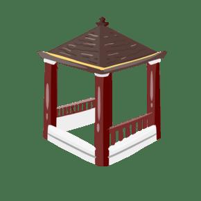 中国风亭子手绘插画