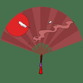 中国风扇子羽毛收手绘插画