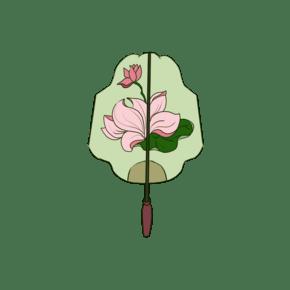 中国风传统扇子荷花手绘插画