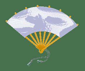 中国风祥云扇子手绘插画