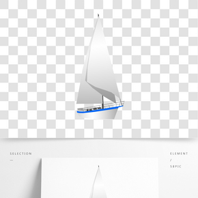 海上白色帆船插畫