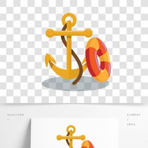 手繪黃色船錨插畫