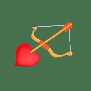 手绘情人节爱神箭插画
