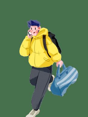 打电话提行李?#19979;?#38738;年免抠手绘插画素材