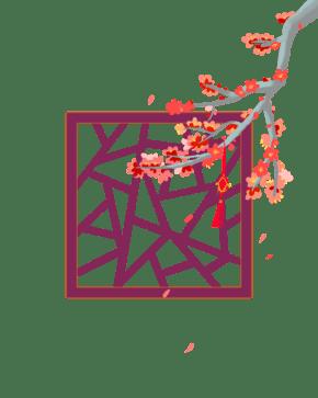 2019新年红梅窗格素材