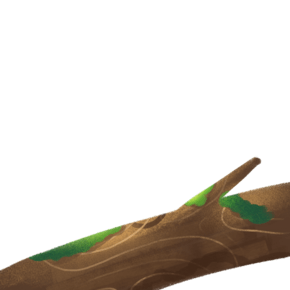 棕色手绘带点绿的树木