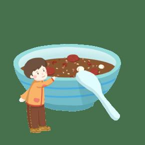 一碗腊八粥和男孩免抠PNG素材