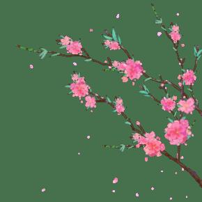 玫粉色卡通手绘花朵