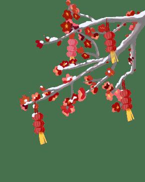 2019新年红梅灯笼素材