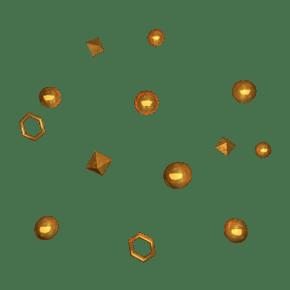 金色C4D金属风电商悬浮装饰