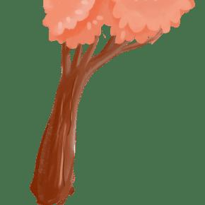 橙色系卡通树木元素