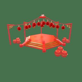 红色金色电商舞台