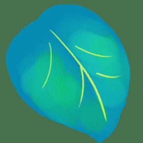卡通手绘湖蓝色绿叶