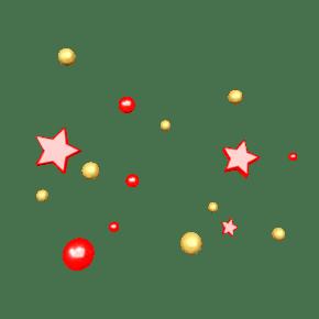 C4D红色情人节喜庆风五角星电商悬浮装饰