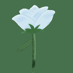 小清新手绘卡通白玫瑰