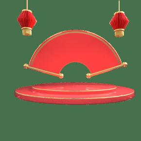 红色金色春节舞台