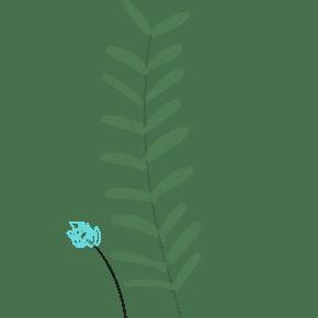 一株绿色的小清新叶子卡通手绘免抠图