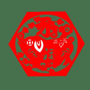 新年猪年窗花福字png下载