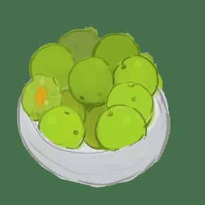 卡通手绘一碗满满的绿茶饼