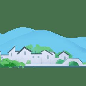 卡通手绘小桥流水的村庄图