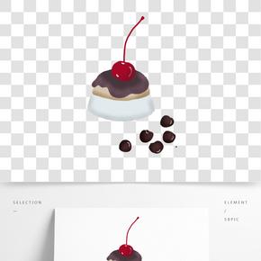 小蛋糕水果手繪插畫