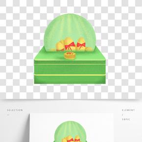 綠色的抽獎機插畫