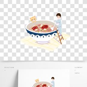傳統習俗美味臘八粥手繪插畫