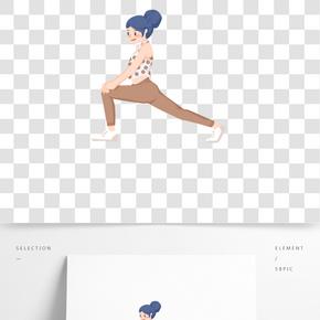春節放假健身瘦身扁平人物卡通手繪插畫