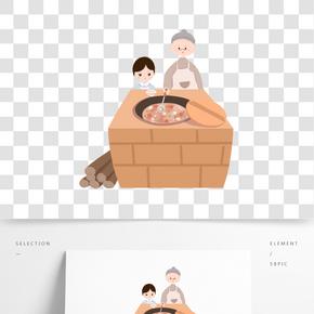 臘八節傳統習俗熬臘八粥手繪插畫