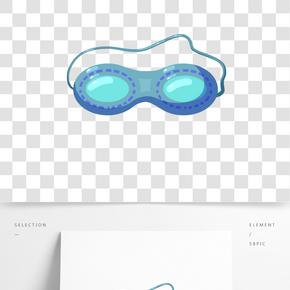手繪藍色泳鏡插畫