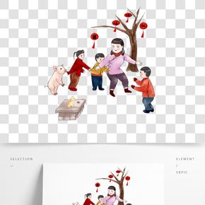 中國風手繪傳統習俗老鷹捉小雞