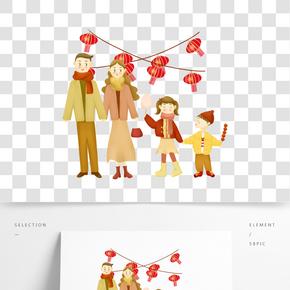 新年過年逛廟會親子手繪插畫